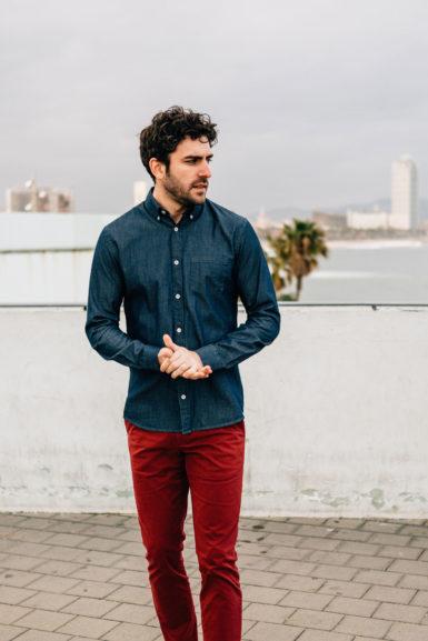 Django chemise denim chino rouge