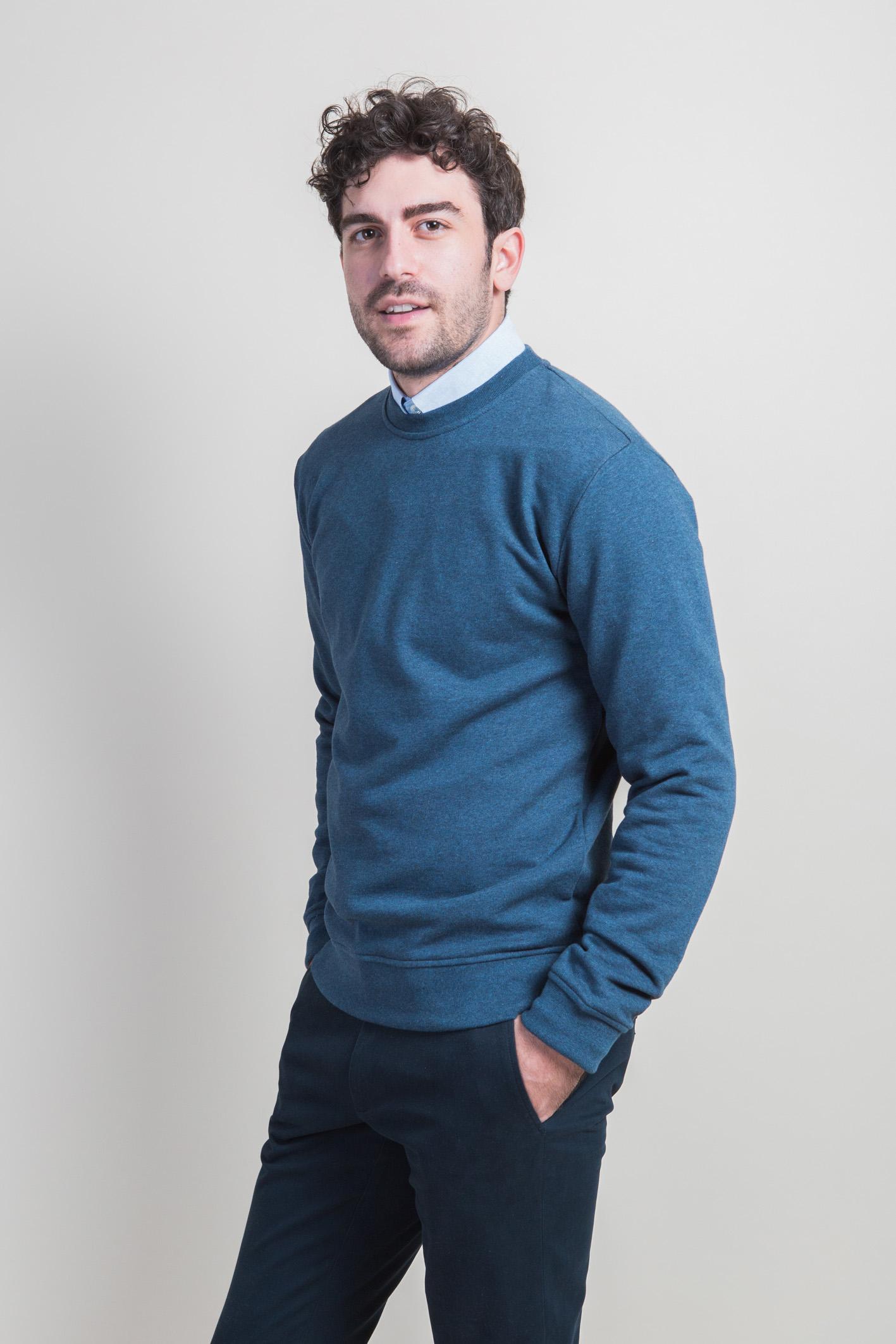 Sweatshirt bleu face