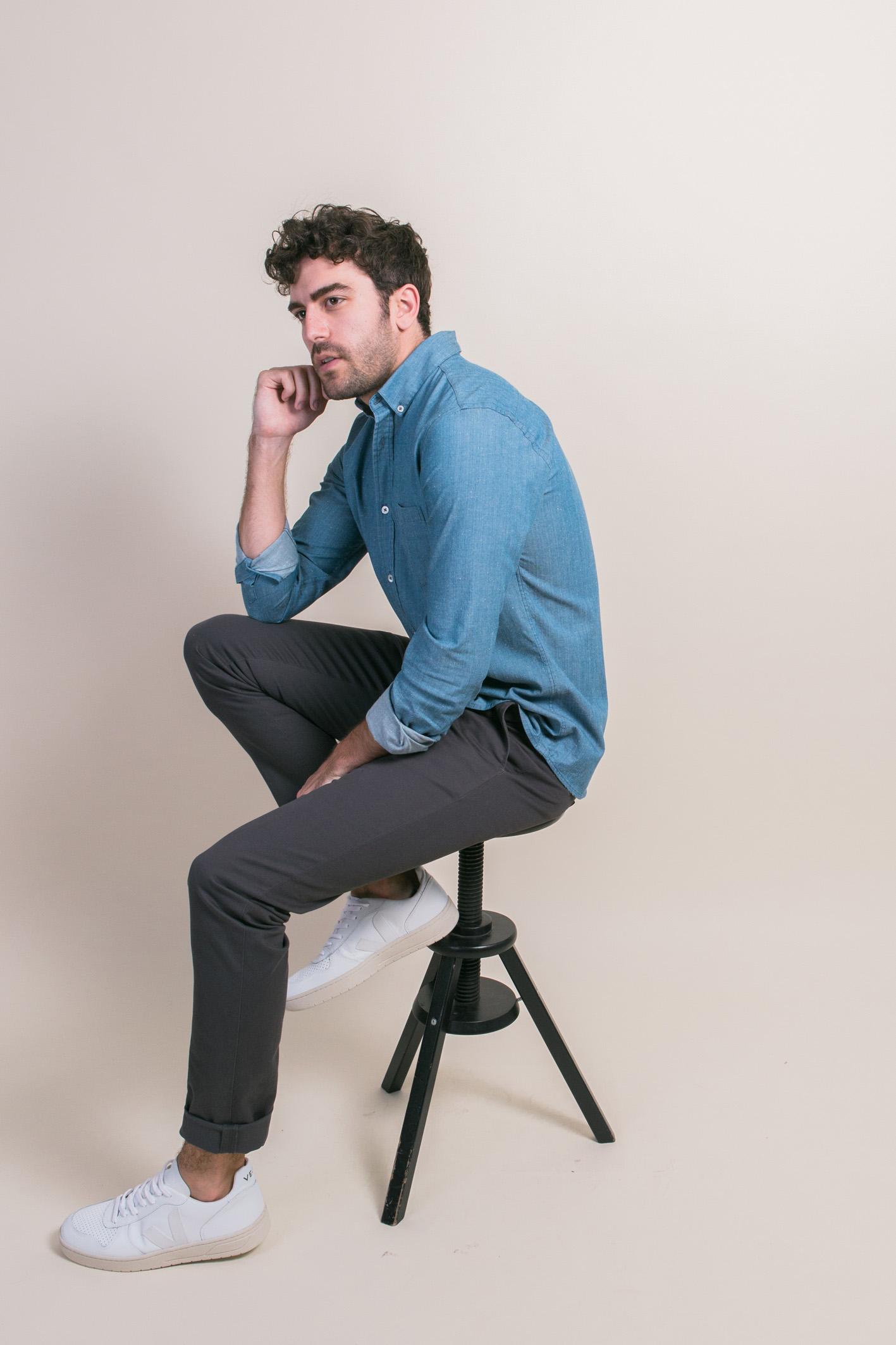 Tabouret chemise denim wayne