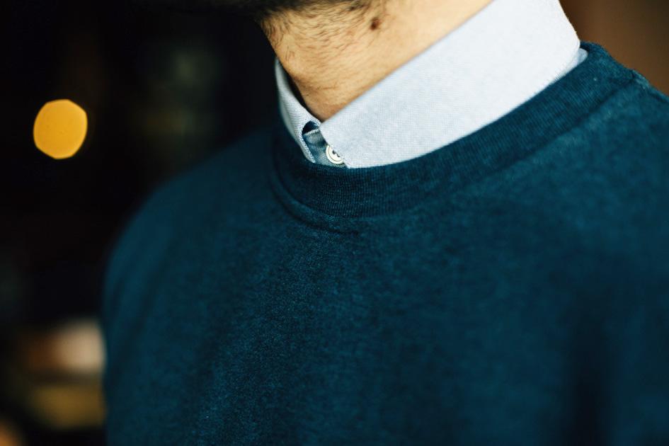 Zoom sweatshirt bleu chemise oxford bleue