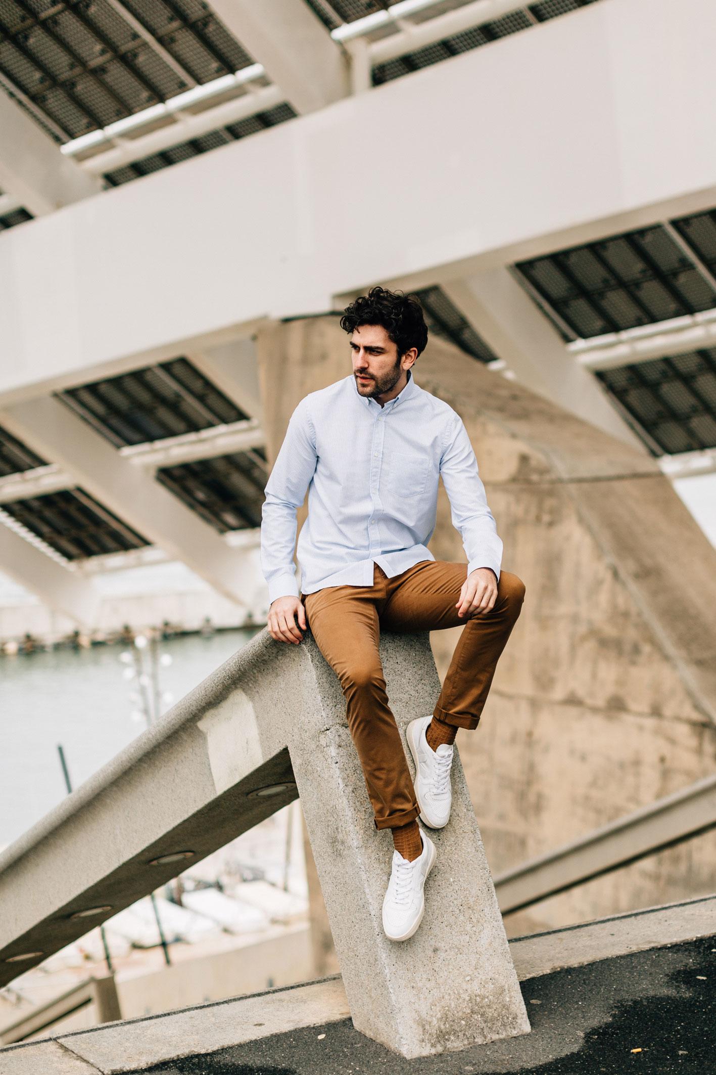 Chino Tabac chemise oxford rayé