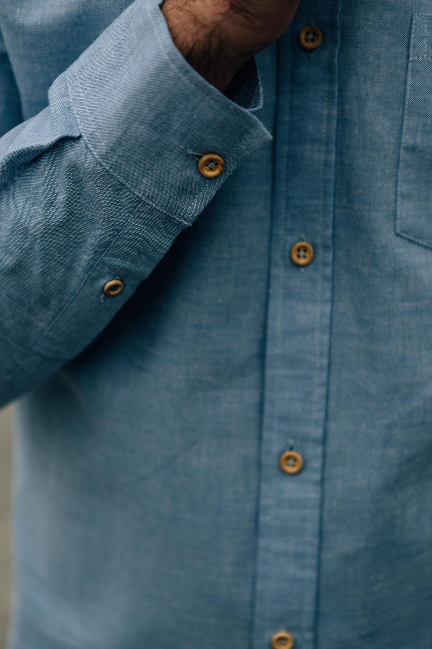 Enzo Oxford bleu pastel boutons bois poignée