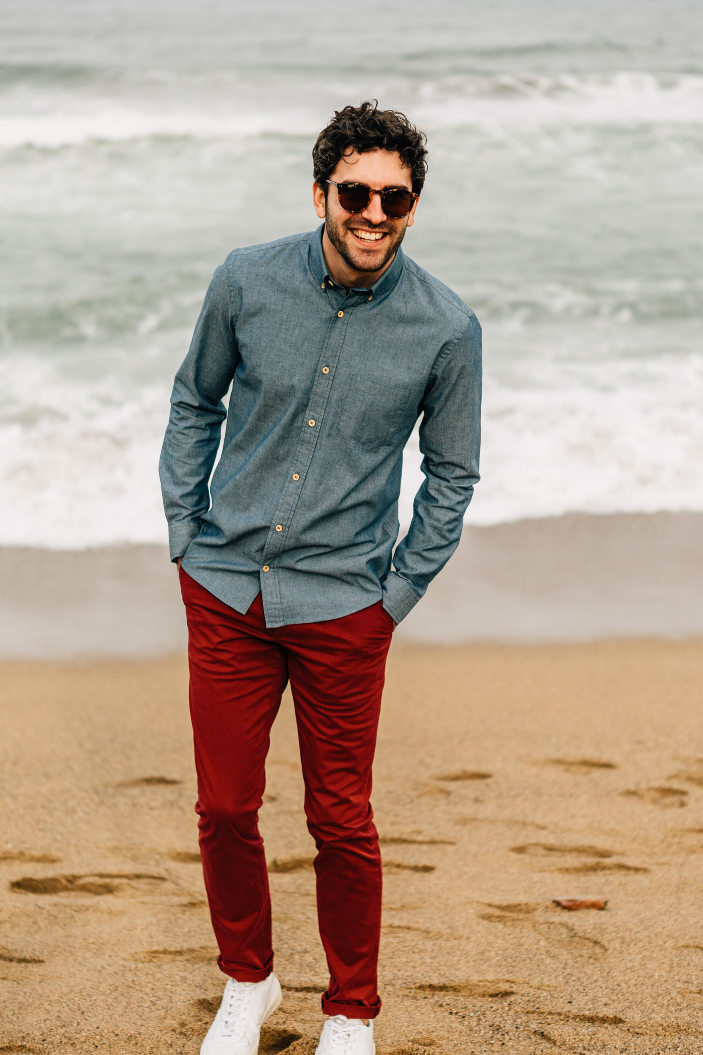 Chemise Chambray boutons bois chino rouge