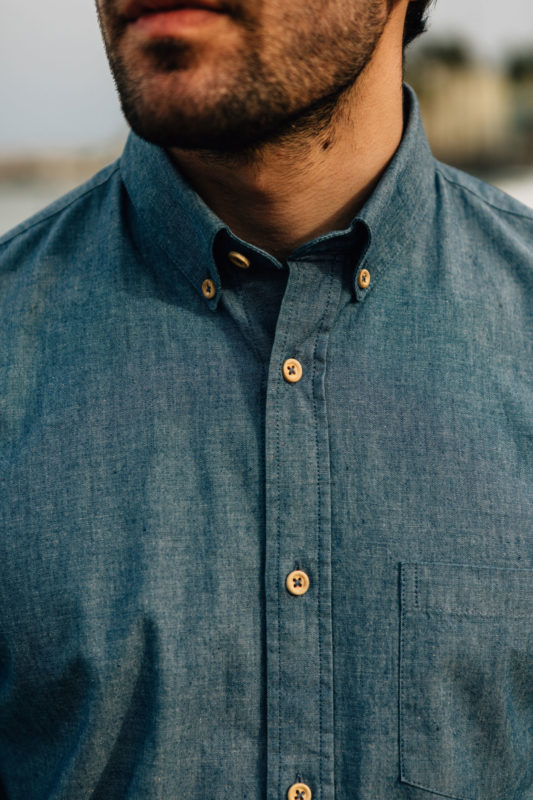 Chemise Chambray boutons bois col