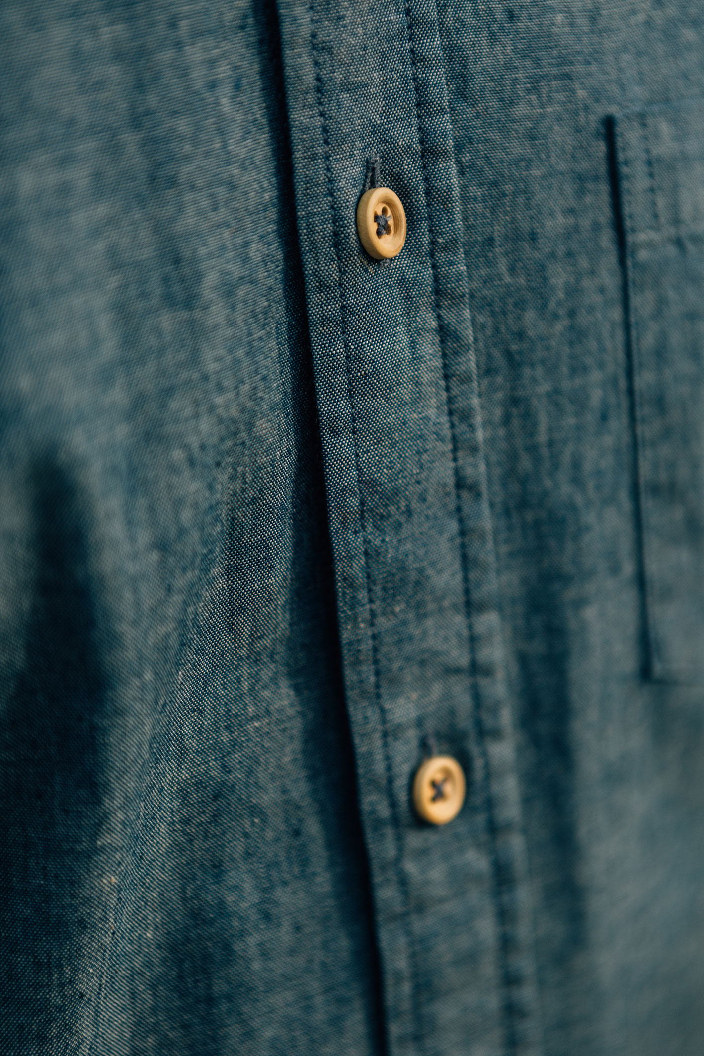 Chemise Chambray boutons bois boutonnière