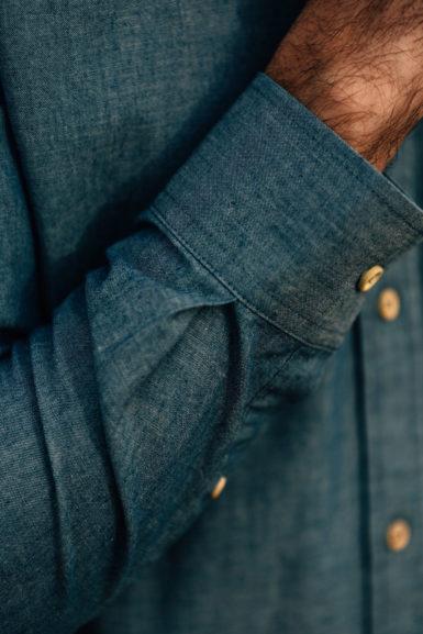 Chemise Chambray boutons bois poignée