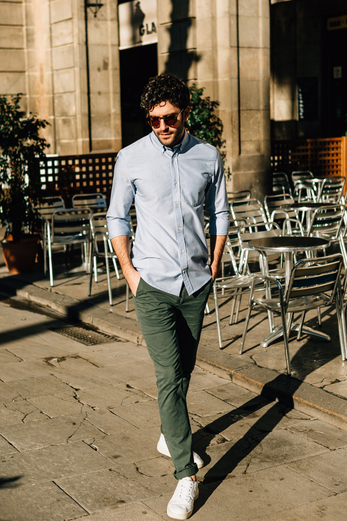 Chino Vert Dragon chemise oxford bleu