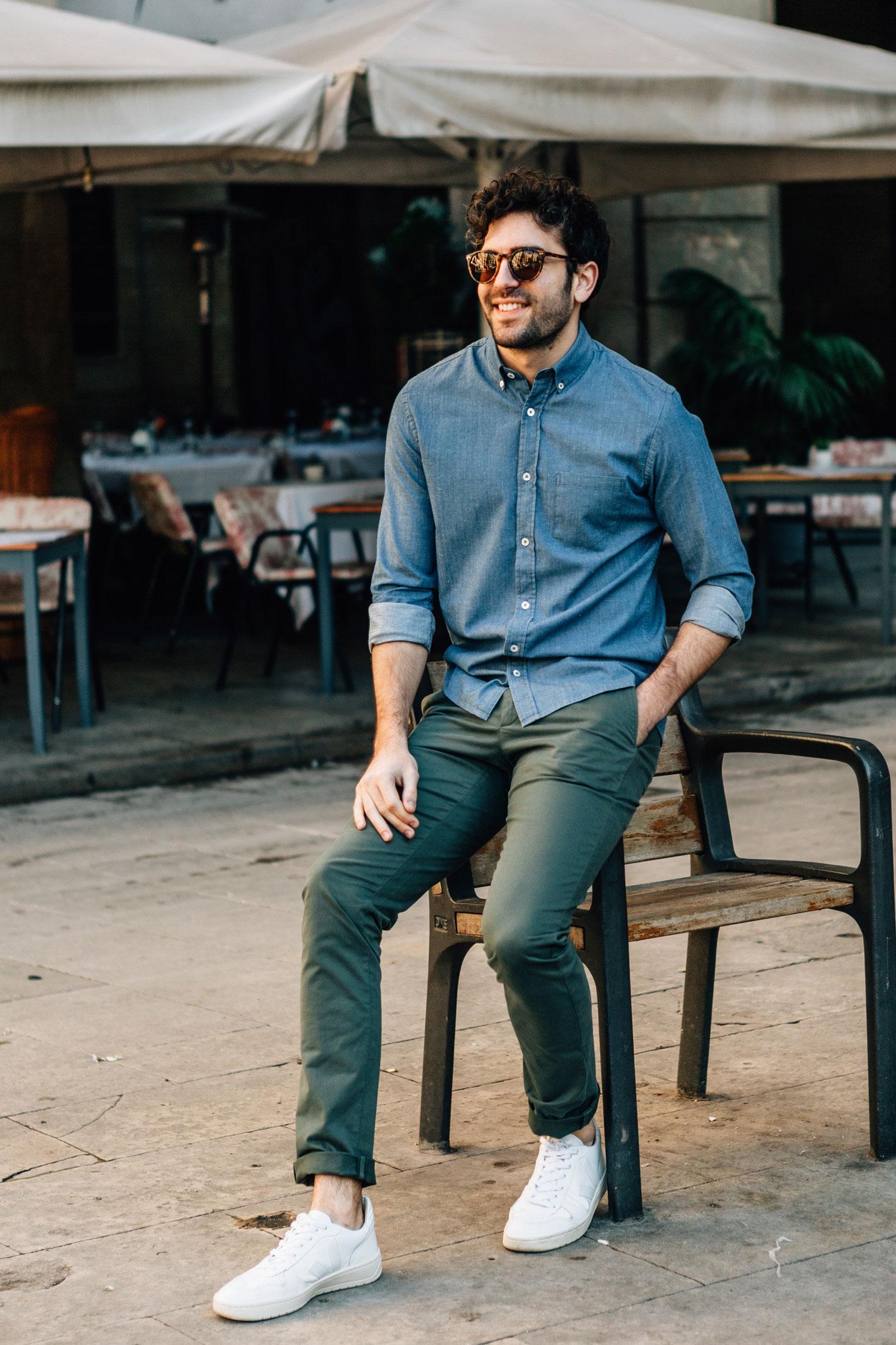 Chino Vert Dragon chemise denim wayne