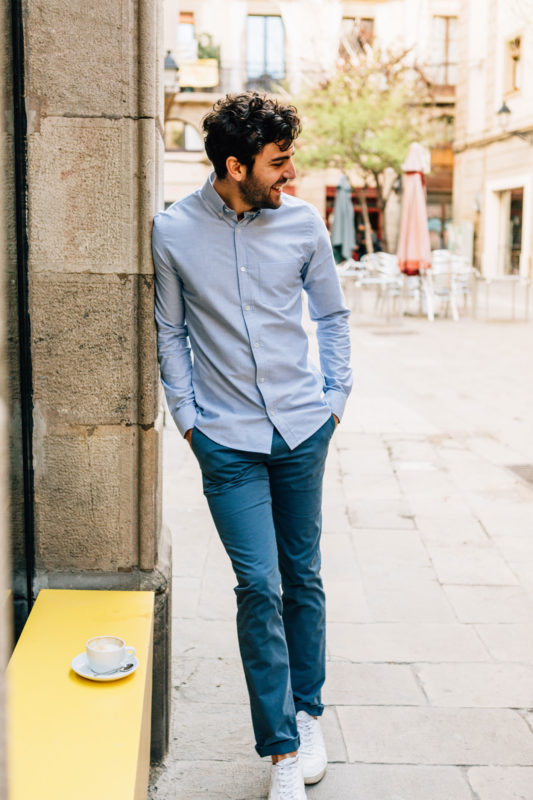 Chino bleu canard chemise oxford bleu