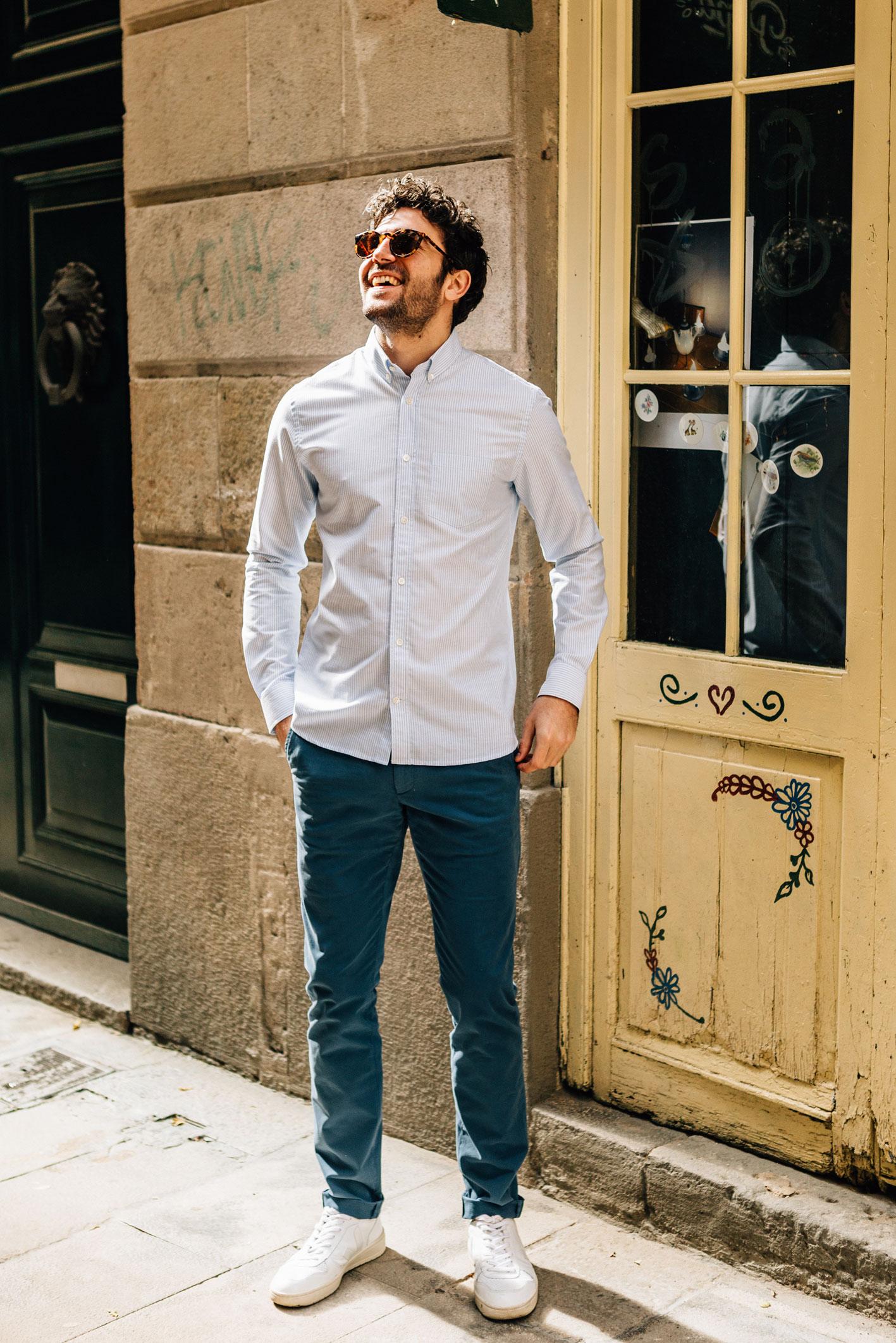 Chino bleu canard chemise oxford rayé