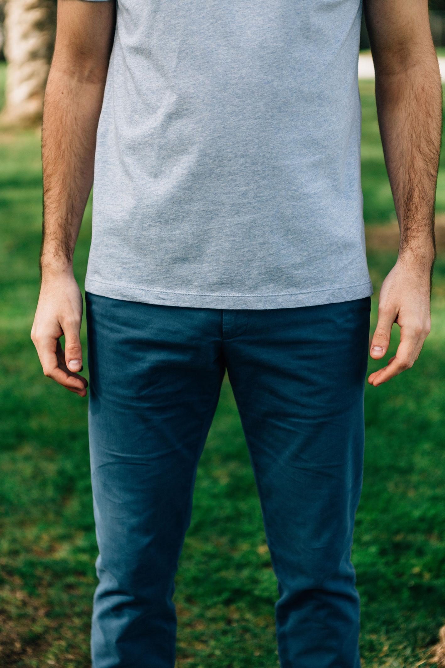 Chino bleu canard face t-shirt