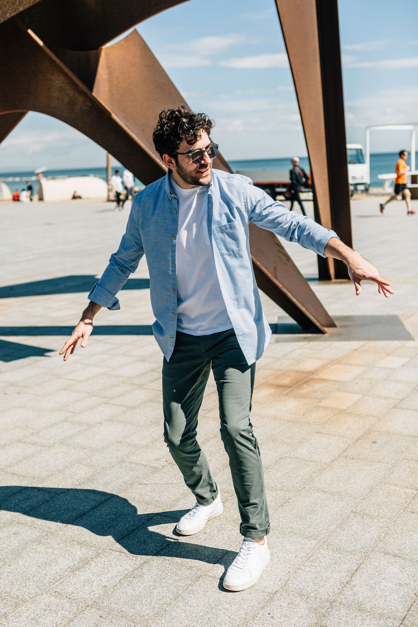 Enzo Oxford bleu pastel boutons bois danse