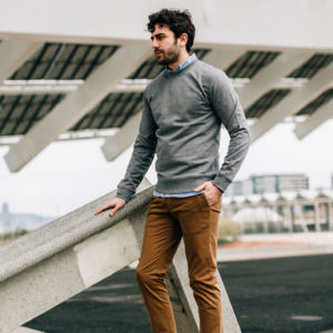sweatshirt gris chino tabac