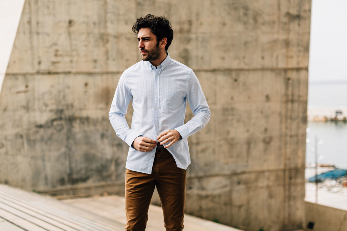 Look chino tabac chemise oxford rayé Ernest