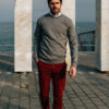 sweatshirt gris chino rouge
