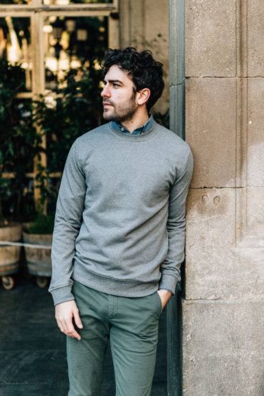 sweatshirt gris chino vert dragon