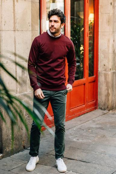 sweatshirt bordeaux chino vert dragon