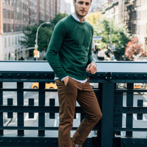 Chino Lewis Speculos Pull Merinos Vert Foret