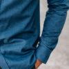 Chemise Flanelle Gaspard Bleu Jeans Close-up manche