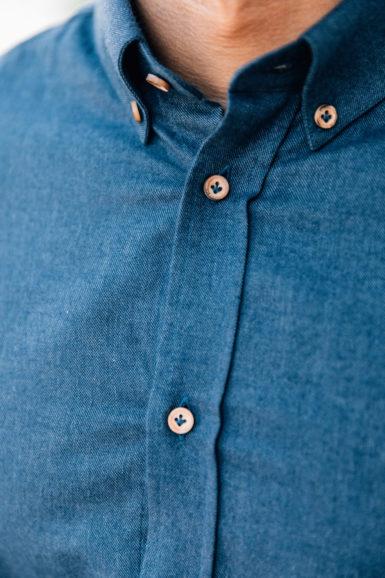 Chemise Flanelle Gaspard Bleu Jeans Close-up col