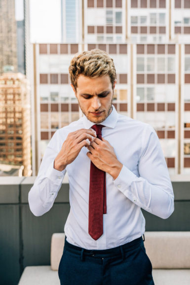 Chemise Oscar blanche cravate