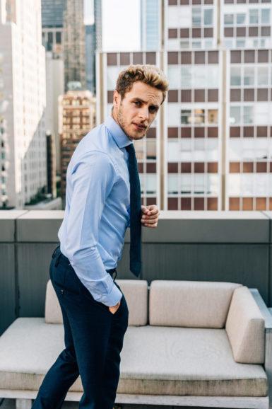 Pantalon Flanelle Giacomo chemise james bleue