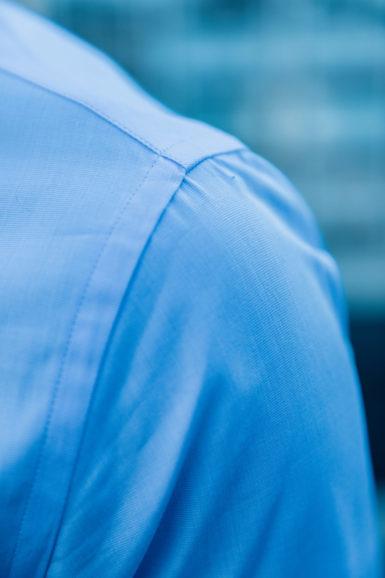 Close-up épaule Chemise james fil-à-fil bleu