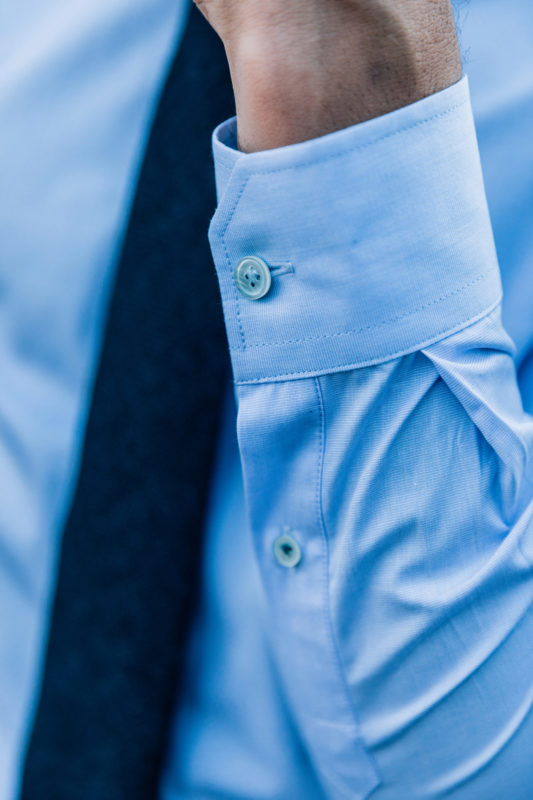Close-up manche Chemise james fil-à-fil bleu