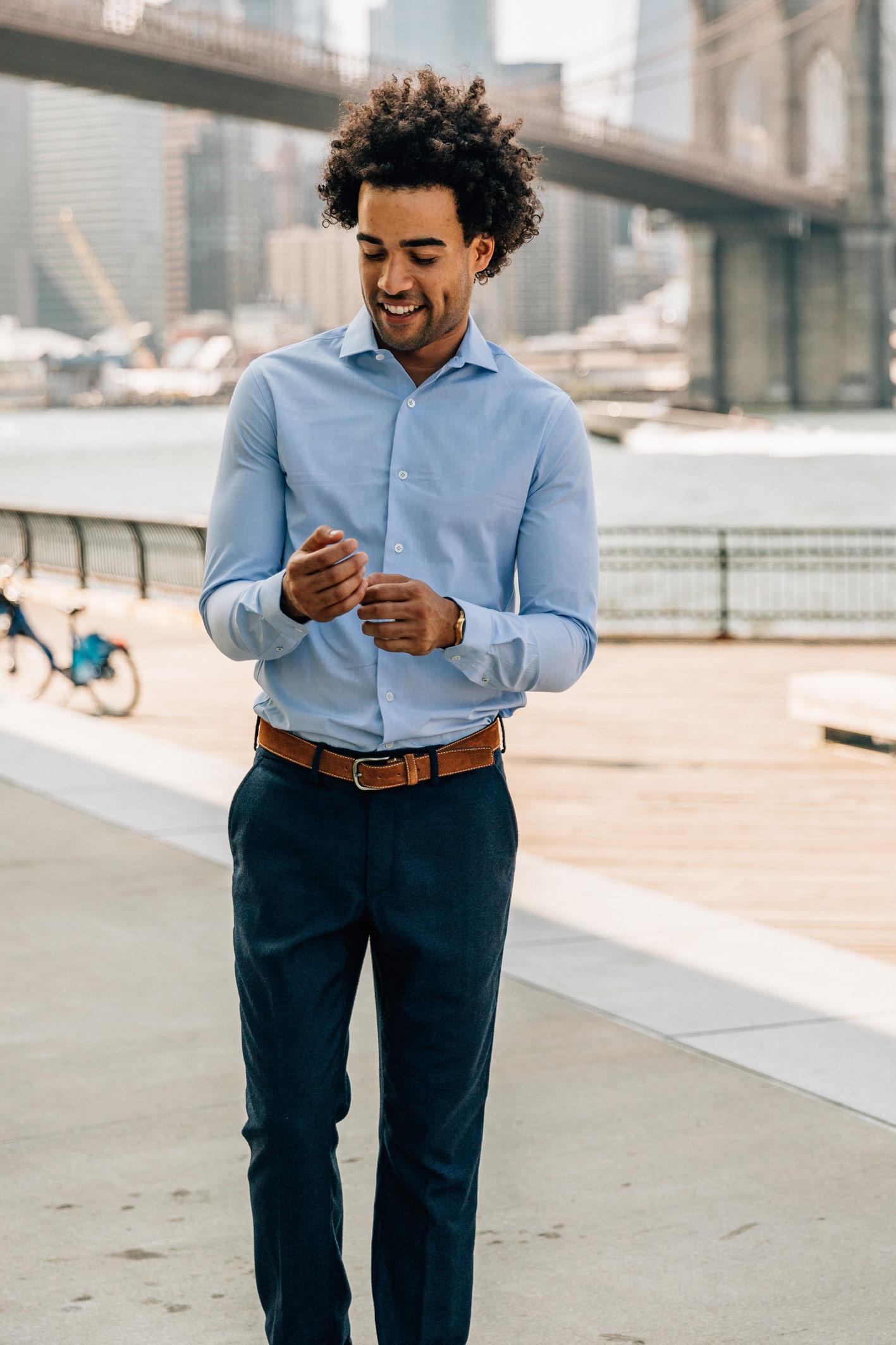 Chemise james fil-à-fil bleu